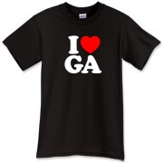 A classic way to show how much you (heart) Georgia, this cool design will never grow old! Featuring I (heart) GA. in big, bold letters, and a strong red heart, this is the perfect way to show how much you love Georgia.