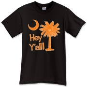 Say hello with the Orange Hey Y'all Palmetto Moon T-Shirt. It features the South Carolina palmetto moon.