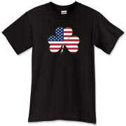 This Irish American Shamrock t-shirt lets people know you're of fine Irish stock!  There's double the pride if you've got Irish blood and live in the great nation of America!  Murchada Outfitters says get a little Irish on ya!