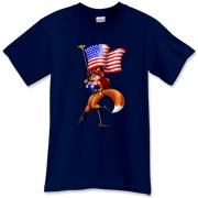 Sheila Vixen is a bit over-the-top when showing her love of the USA, but we hope you won't mind and wear the shirt anyway.