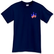 This bowling shirt with patriotic pocket emblem design shows bright colored bowling pins and a colorful bowling ball, all wrapped in stars and stripes.