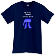 This zany math nerd dark shirt design shows a big Pi caricature with a scowling face, with the caption: So I'm NOT Rational! Gimme A Break! Any math student will love it.