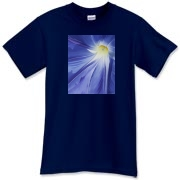 A dramatic morning glory center makes a powerful statement when you wear this shirt.