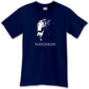 Napoleon Bonaparte, the Emperor himself, looking pensive in t-shirt form!  Perhaps this Napoleon tee shirt shows him planning out his next move, or thinking about lunch.  Murchada Outfitters can only guess the mind of the Emperor!
