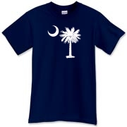 A white palmetto and crescent moon. The palmetto is a symbol of South Carolina pride. Buy the white palmetto moon on a t-shirt, sweatshirt, or other clothing item.