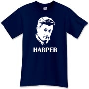 It's a Canadian Prime Minister Stephen Harper t-shirt!  It was hard to capture those cold dead eyes on a shirt.  Great man?  Good enough for some.  Murchada Outfitters errs on the conservative side.