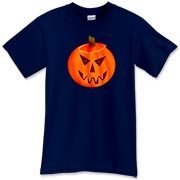 Carved pumpkin jack-o-lantern with fanged grin and two glowing red eyes. Halloween themed design.