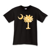 Yellow Polka Dot Palmetto Moon Kids T-Shirt features a yellow palmetto moon with white polka dots. Buy this fun variation on the South Carolina palmetto moon flag today!
