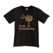 Brown South Cackalacky Palmetto Moon Kids T-Shirt features the South Carolina palmetto moon logo in brown.
