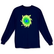 This colorful art long sleeve t-shirt is a whirlpool of complementing colors.