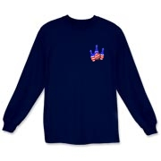 This bowling long sleeve t-shirt with stars and stripes pocket emblem design shows bright colored bowling pins and a colorful bowling ball, all wrapped in stars and stripes.