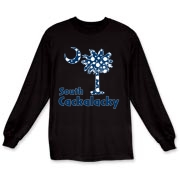 Blue Polka Dots South Cackalacky Palmetto Moon Long Sleeve T-Shirt features a Polka Dot South Carolina palmetto moon logo in blue.