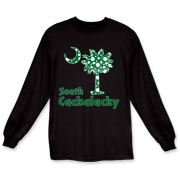 Green Polka Dots South Cackalacky Palmetto Moon Long Sleeve T-Shirt features a Polka Dot South Carolina palmetto moon logo in green.