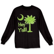 Say hello with the Lime Green Hey Y'all Palmetto Moon Long Sleeve T-Shirt. It features the South Carolina palmetto moon.