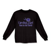 Our Carolina Girl Best in the World in purple on dark shirts and apparel. Carolina Girls are truly the best in the world. Best in the world Carolina Girl Shirts and Apparel for everyone.