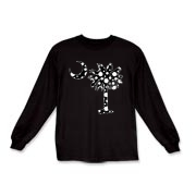 Black Polka Dot Palmetto Moon Kids Long Sleeve T-Shirt features a black palmetto moon with white polka dots. Buy this fun variation on the South Carolina palmetto moon flag today!