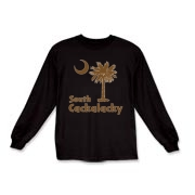 Brown South Cackalacky Palmetto Moon Kids Long Sleeve T-Shirt features the South Carolina palmetto moon logo in brown.