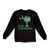 Green Polka Dots South Cackalacky Palmetto Moon Kids Long Sleeve T-Shirt features a Polka Dot South Carolina palmetto moon logo in green.