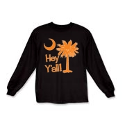 Say hello with the Orange Hey Y'all Palmetto Moon Kids Long Sleeve T-Shirt. It features the South Carolina palmetto moon.