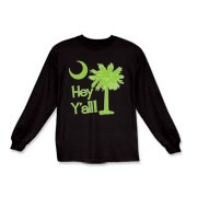 Say hello with the Lime Green Hey Y'all Palmetto Moon Kids Long Sleeve T-Shirt. It features the South Carolina palmetto moon.