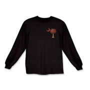 The basketball palmetto moon features the South Carolina palmetto with a basketball and hardwood floor theme positioned in the pocket area of a Kids Long Sleeve T-Shirt.