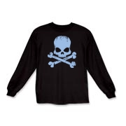 Blue Skull Kids Long Sleeve T-Shirt