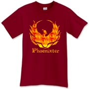 A fiery Phoenixter logo on the front, and a Trefoil Academy on the back.  Text designed for darker shirt colors.