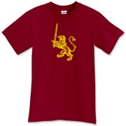 A yellow Scottish Lion Rampart holding a massive swords adorns this lion rampart shirt.  Yet another cool Lion Rampart t-shirt.  Even without the sword, the lion has some nasty claws!  Pick up this Celtic shirt from Murchada Outfitters NOW...do it!