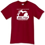 This is the Michigan Militia Minuteman T-Shirt in Cardinal Red.