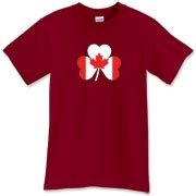 This Irish Canadian Shamrock t-shirt lets people know you're of fine Irish stock! There's double the pride if you've got Irish blood and live in the Great White North! Murchada Outfitters says get a little Irish on ya, Canuck!