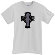 This most Celtic t-shirt features a cool Celtic Cross that looks like a gray wolf.  It's a one-of-a-kind wolf tee that will get attention.  One of the slicker tees in the Murchada Outfitters Celtic collection!