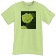A yellow prickly pear cactus flower blooms beautifully on the front of this t-shirt. A great way to celebrate the beauty of nature!