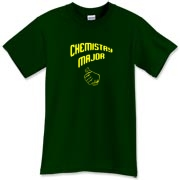 Proudly show off your college major with this funny chemistry t-shirt, which uses a pointing thumb gesture to indicate that you are a chemistry major.