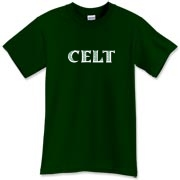 The word Celt in a detailed Celtic knotwork script boldly stands out on the front of this shirt.  No one who sees this tee will mistake you for anything but a Celt!  Slainte from Murchada Outfitters, your humble shirt suppliers!