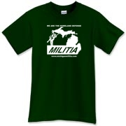 This is the Michigan Militia Minuteman T-Shirt in the Forest Green color.