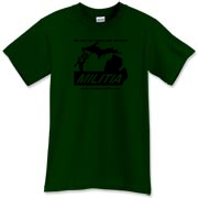 The black Michigan Militia Minuteman design on this Forest Green T-Shirt has a subdued effect.