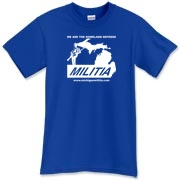 The Michigan Militia Minuteman T-Shirt in the Royal Blue color.