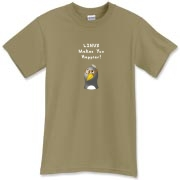 This funny computer t-shirt touts the popularity of the Linux operating system with an image of a computer nerd penguin saying Linux Makes You Happier!