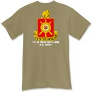 171st Field Artillery, MLRS - Dark Color T-Shirts. Front & Back Insignia. Available in 15 Dark Colors.