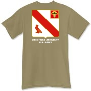 21st Artillery MLRS - Dark Color T-Shirts. Front & Back Insignia. Available in 15 Dark Colors.