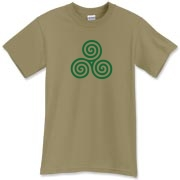 A Celtic t-shirt featuring the ancient Celtic triskele. You don't have to be Celtic though...the triskele or triskelion has Viking and Italian significance too! This triskele shirt is brought to you by Murchada Outfitters...enjoy!