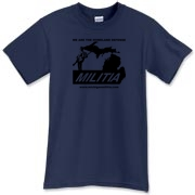 The Michigan Militia Minuteman design in black, on this Blue Dusk T-Shirt.