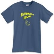 This witty astronomy t-shirt shows a thumb in a self-pointing gesture, and carries the big label: Astronomy Major.