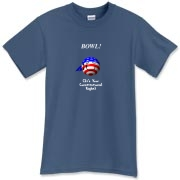 This satirical stars and stripes bowling t-shirt shows a smiling bowling ball caricature decked out in red, white and blue. The caption says: BOWL! (It's Your Constitutional Right).