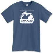 The Michigan Militia Minuteman T-Shirt in Indigo Blue.