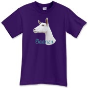 Awesome quality preshrunk tee shirt with a drawing of a nice Saanen Dairy goat on the front.