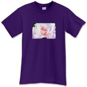 A pink and lavendar rose gives a feminine softness to this shirt. A lovely addition to your wardrobe!