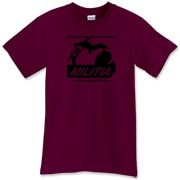 The black Michigan Militia Minuteman design on this Maroon T-Shirt has a subdued look (compared to the same shirt with the white design, also available!).