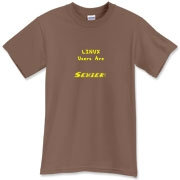 This clever computer t-shirt says: Linux Users Are Sexier. Duh! Let this design advertise your sexy computer prowess.
