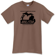 The black Michigan Militia Minuteman design on this rich Chestnut colored T-Shirt.